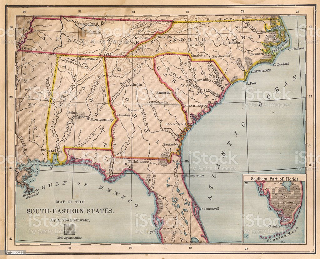 Old, Color Map of South Eastern States, From 1800's stock photo