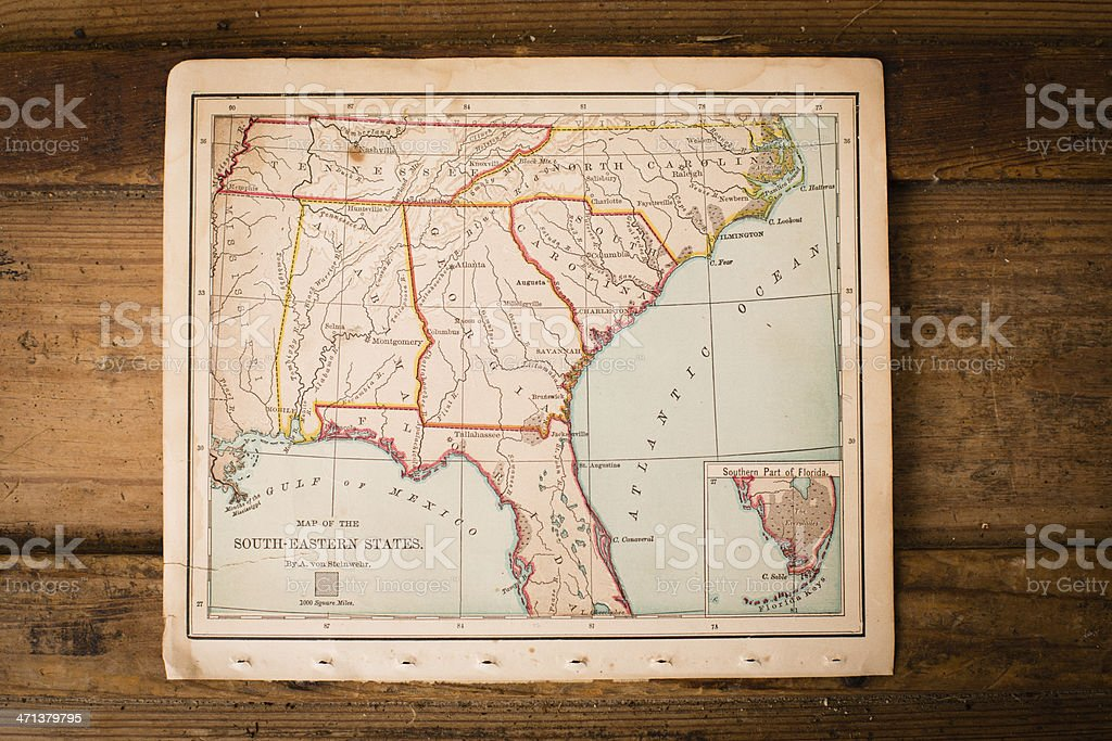 Old, Color Map of South Eastern States, Sitting on Trunk stock photo
