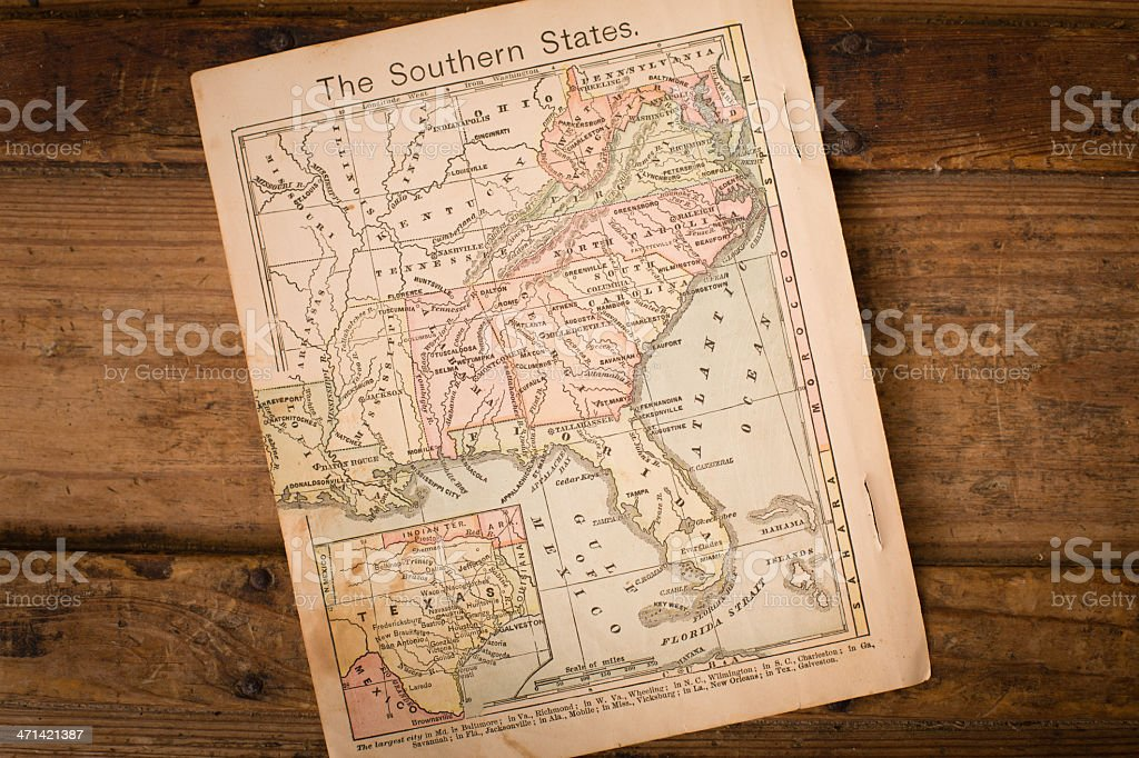 1867, Old, Color Map of Southern (United) States stock photo