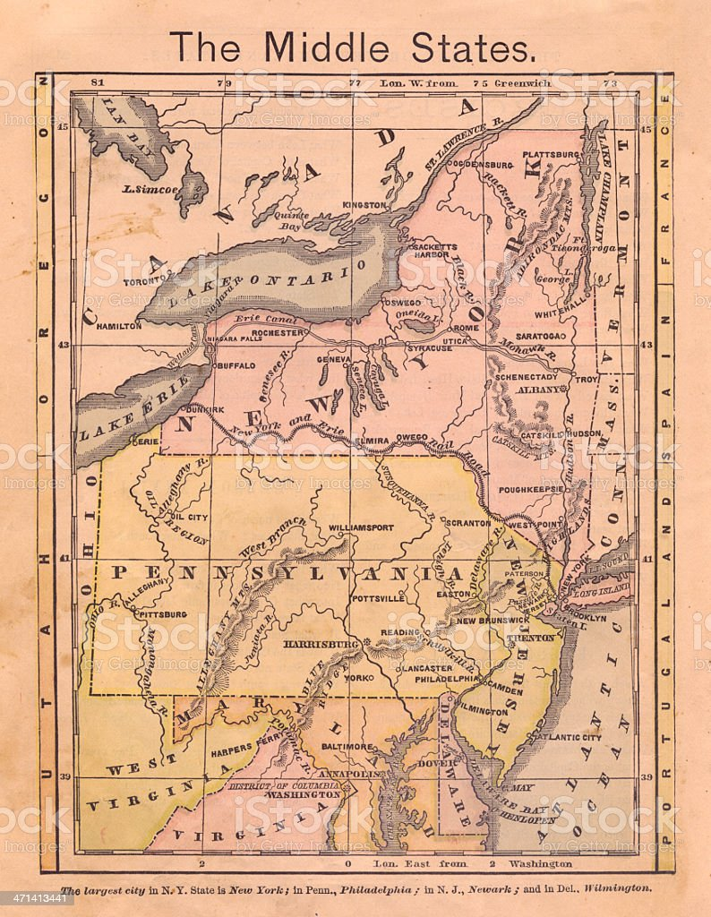 1867, Old, Color Map of the Middle (United) States stock photo