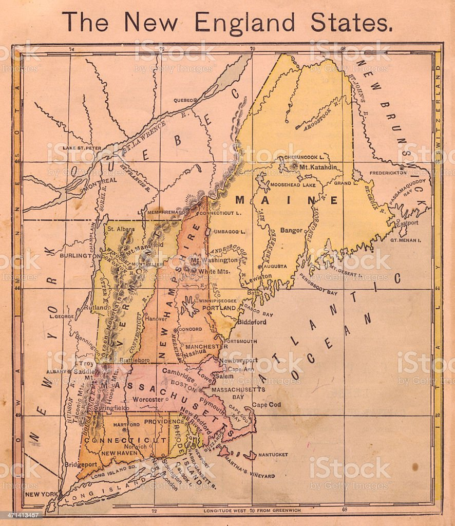 1867, Old, Color Map of the New England States stock photo