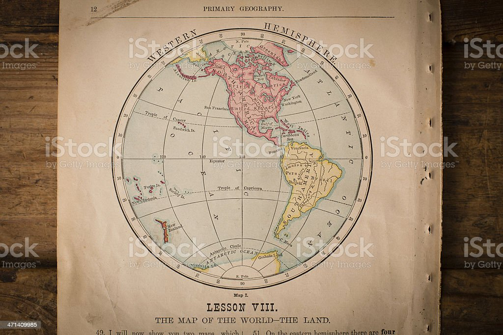 Old Color Map of the Western Hemisphere, From 1800's royalty-free stock photo