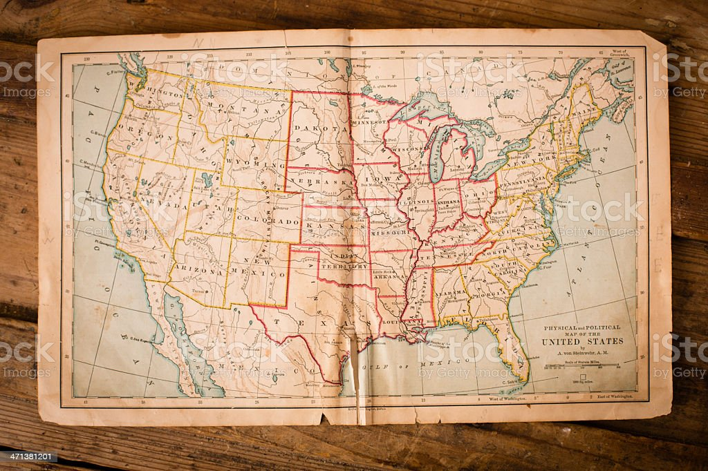 Old, Color Map of United States, Sitting on Wood Trunk stock photo