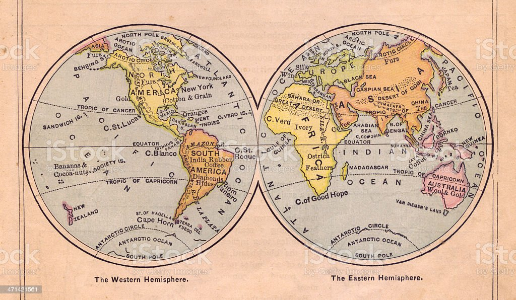 1867, Old, Color Map of Western and Eastern Hemispheres stock photo