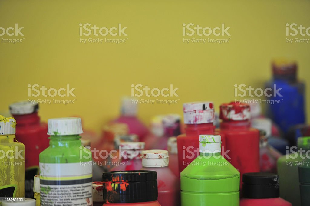 old colored bottles stock photo