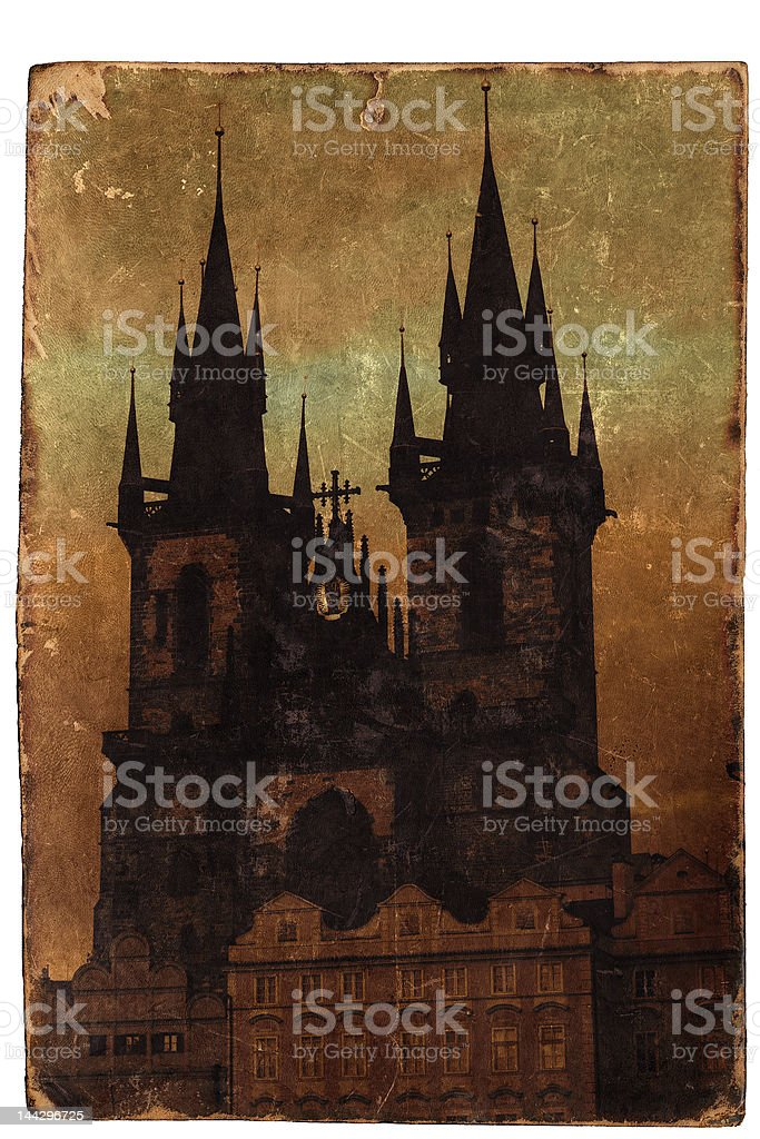 Old colored postcard Church of our lady close-up royalty-free stock photo