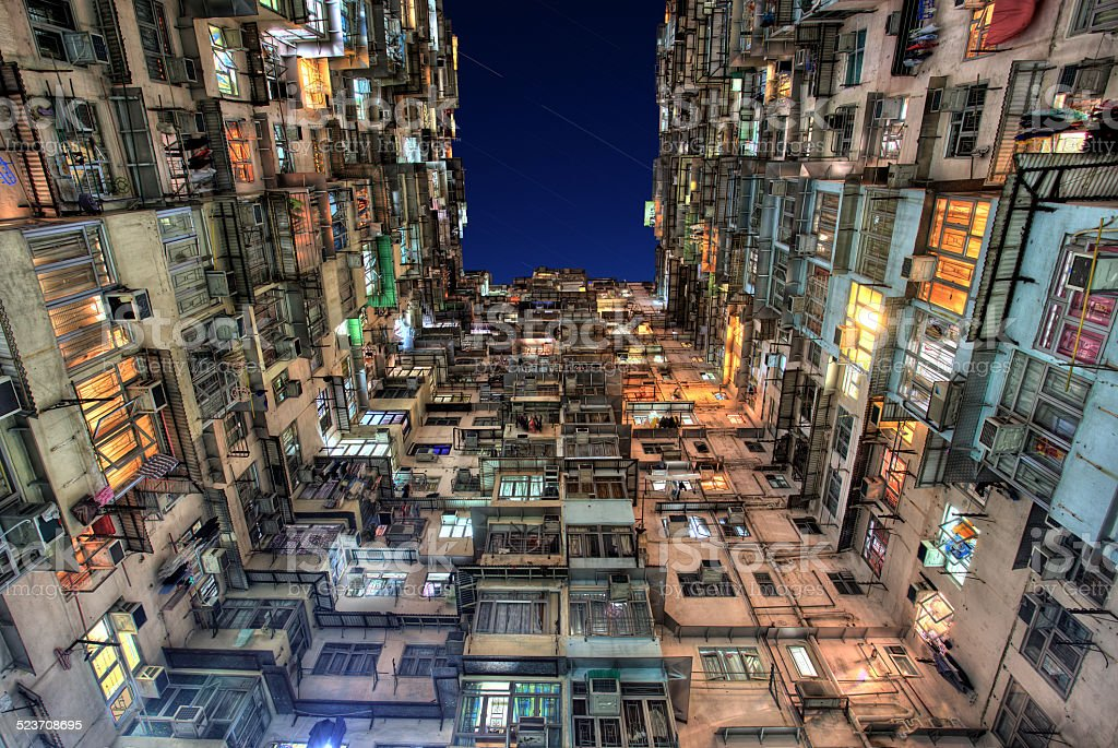 Old Colorful Apartments in Hong Kong stock photo