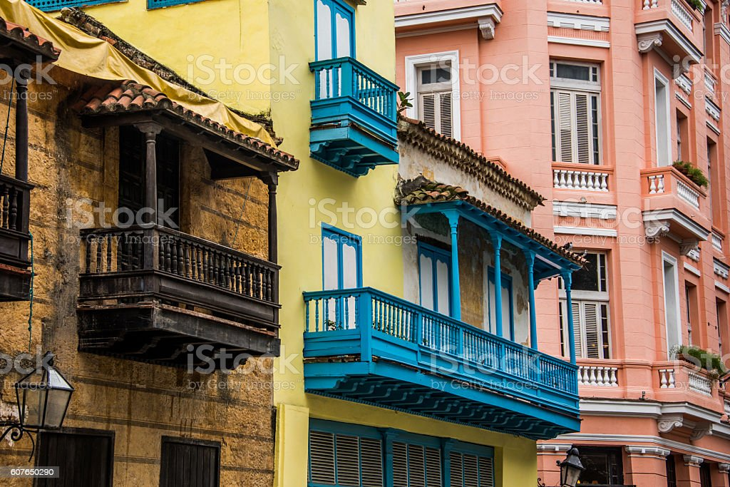 old colorful colonial buildings in old havana, cuba stock photo