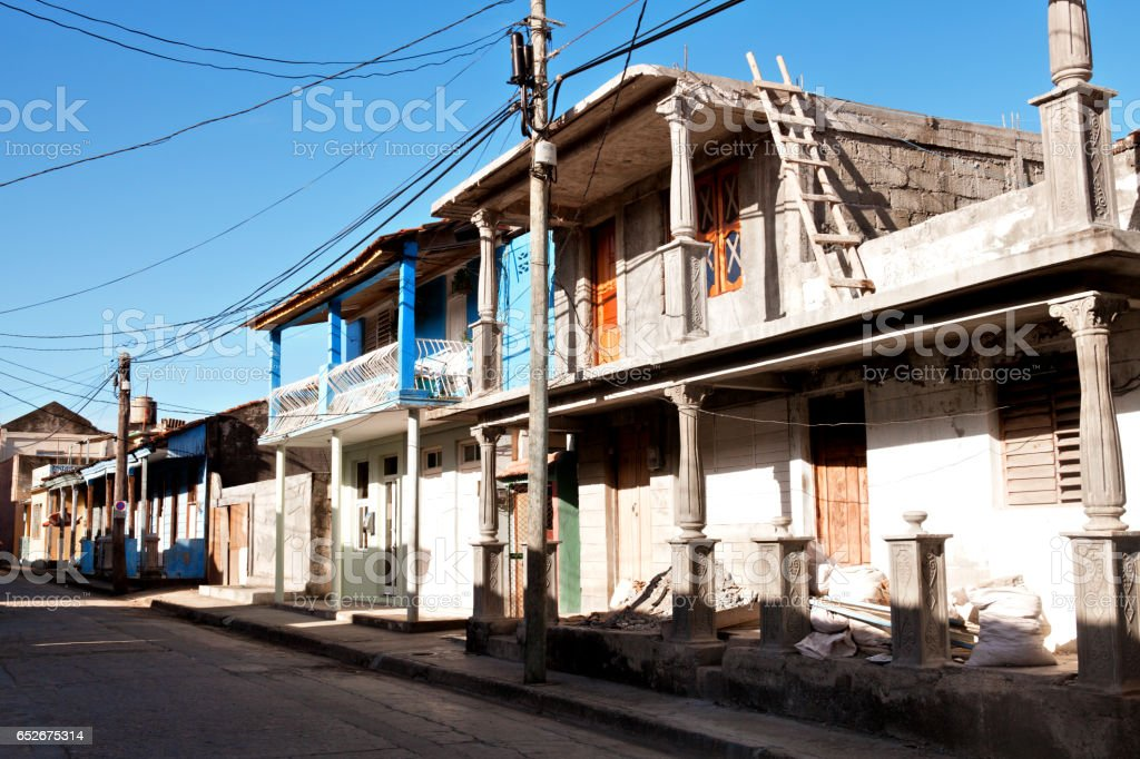 Old colorful houses in Baracoa, Cuba stock photo