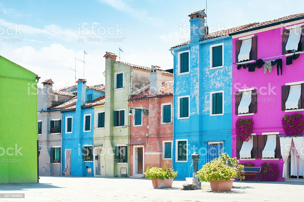 Old colorful houses in Burano, Italy. stock photo