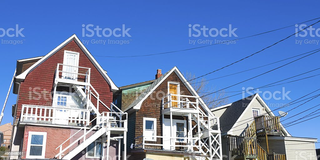 Old Colorful houses in Calgary stock photo