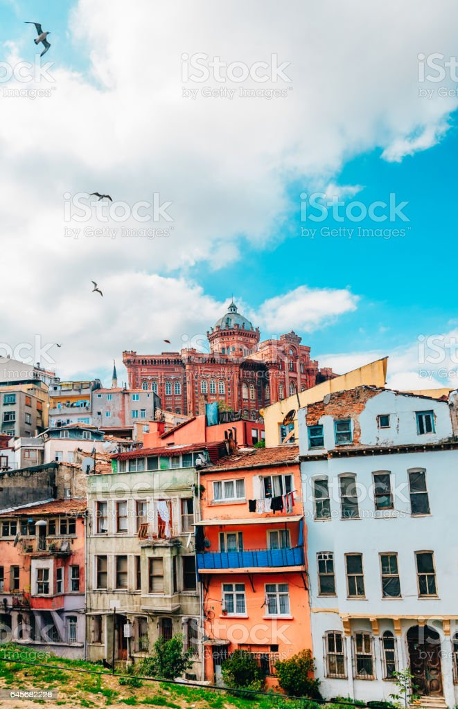 Old Colorful Houses in Istanbul, Turkey stock photo