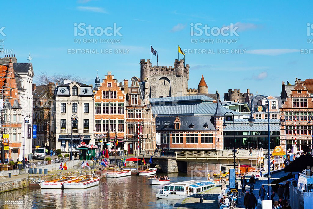 Old colorful traditional houses along canal in Ghent, Belgium stock photo