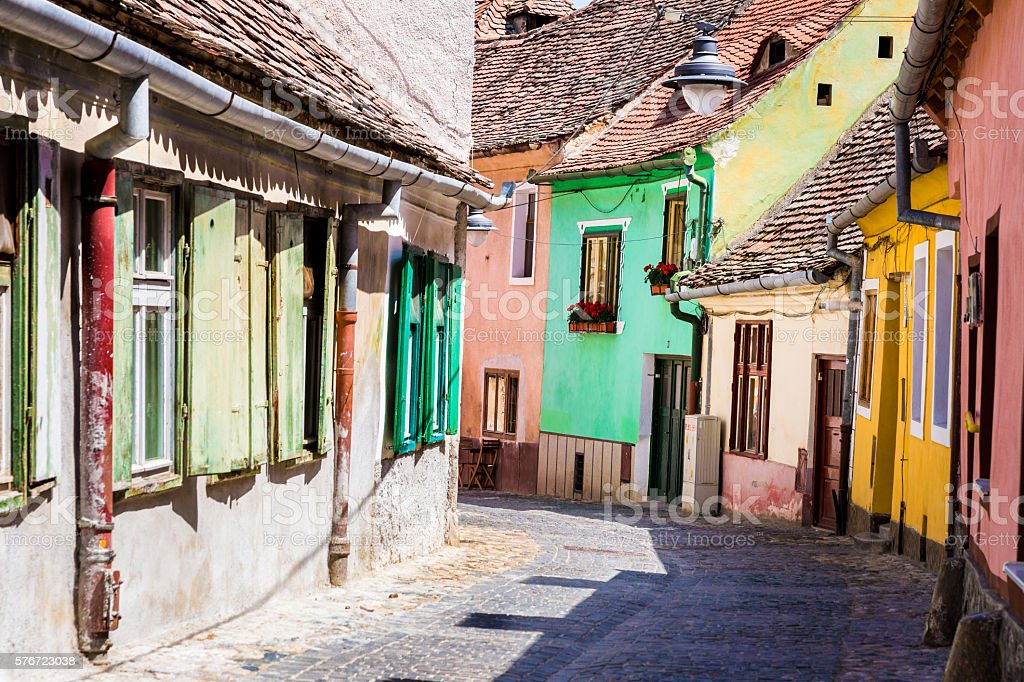 Old colourful houses in cobbled street, Sibiu, Transylvania, Romania stock photo