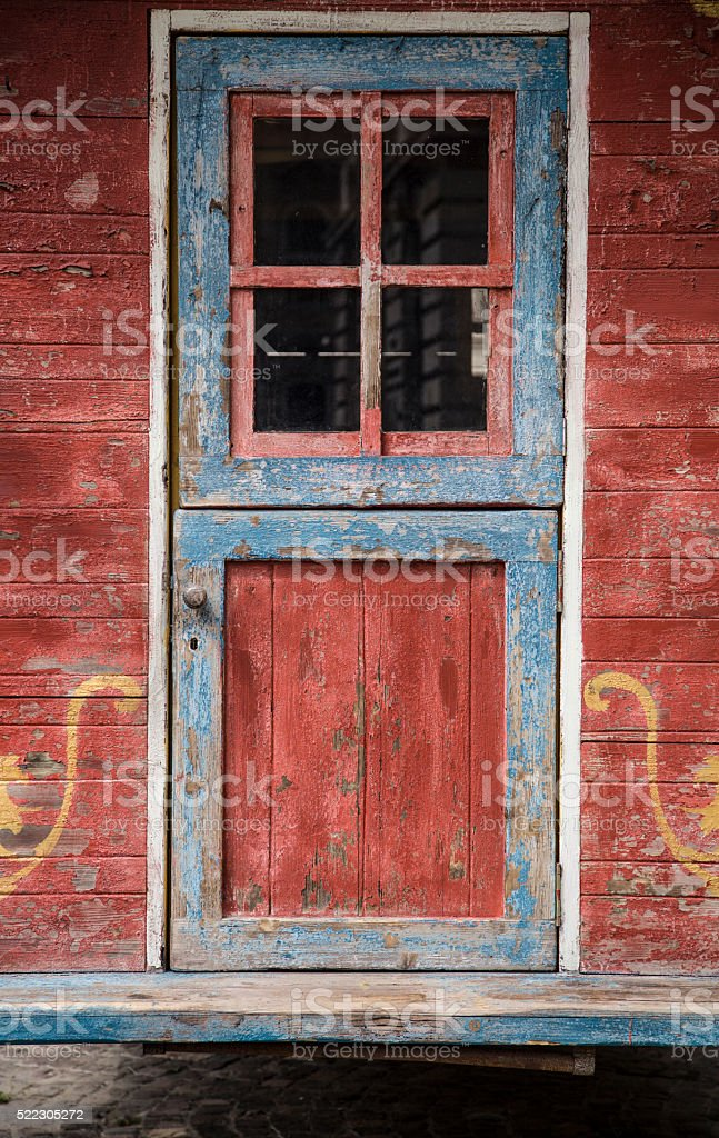 old colourful painted wooden door stock photo