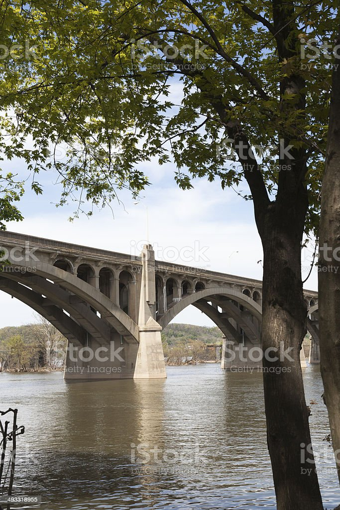 Old Columbia Wrightsville Bridge Crossing the Susquehanna River stock photo