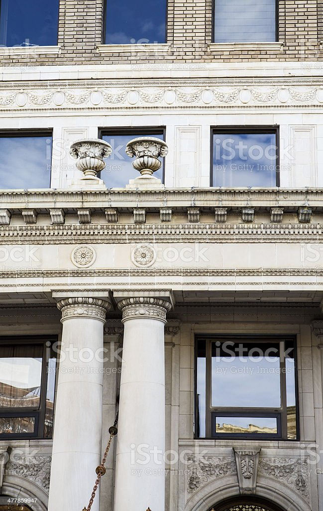 Old Columns and Ornate Trim Vertical royalty-free stock photo