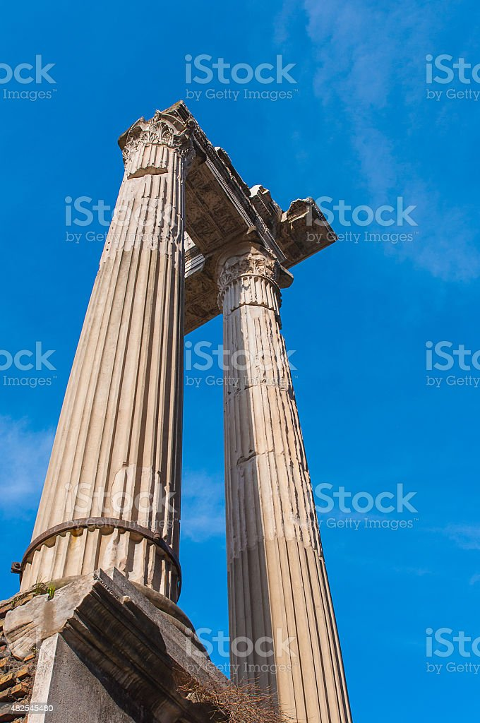 Old columns at the Marcellus Theatre in Rome. stock photo