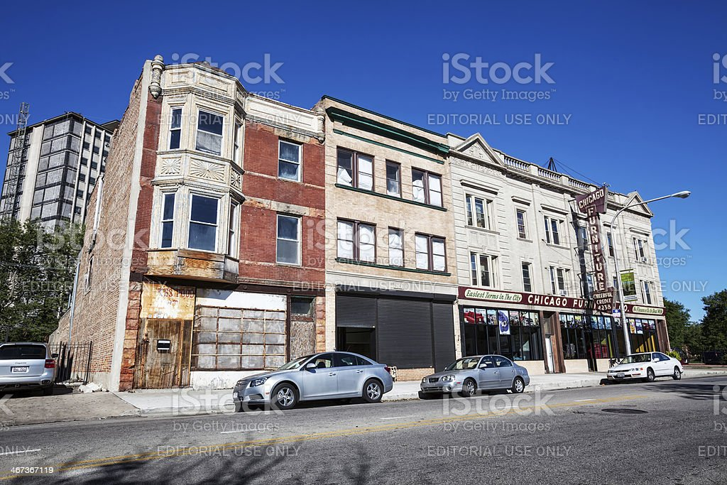 Old commercial buildings in Grand Boulevard, Chicago stock photo