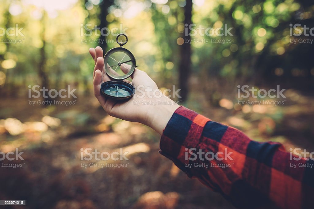 Old Compass in hand stock photo