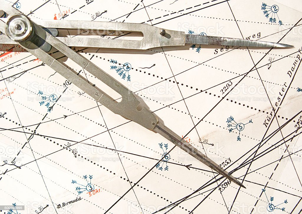 Old compass on a navigation chart stock photo