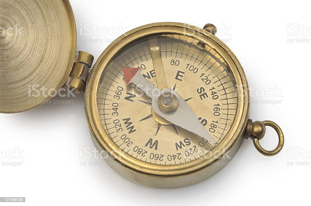 Old compass on a white background royalty-free stock photo