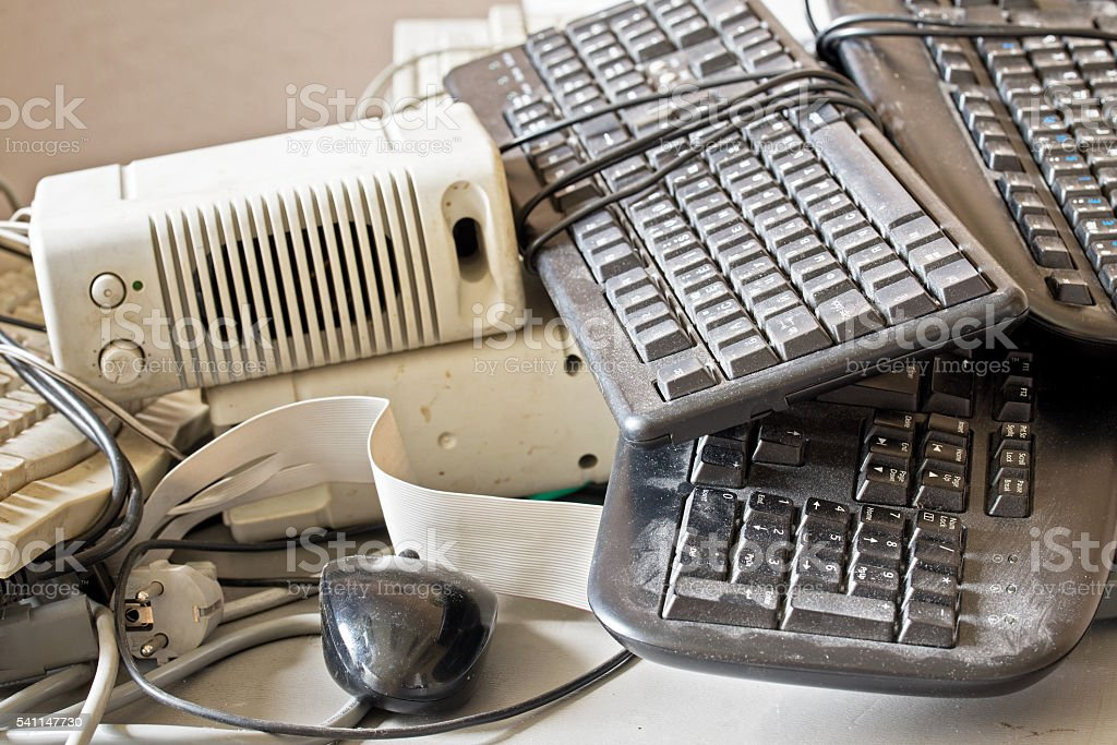 old computer accessories for electronic recycling stock photo