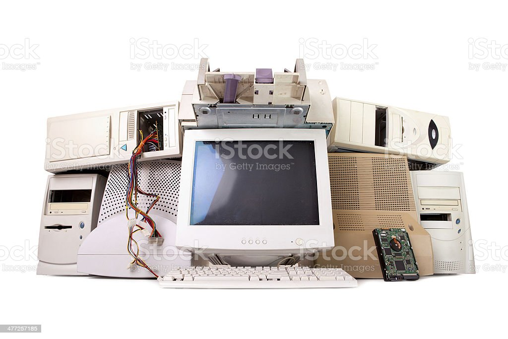 old computer and electronic waste stock photo