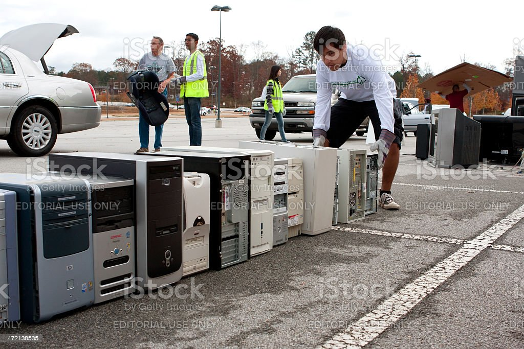 Old Computers Are Stacked At Recycling Day Event stock photo
