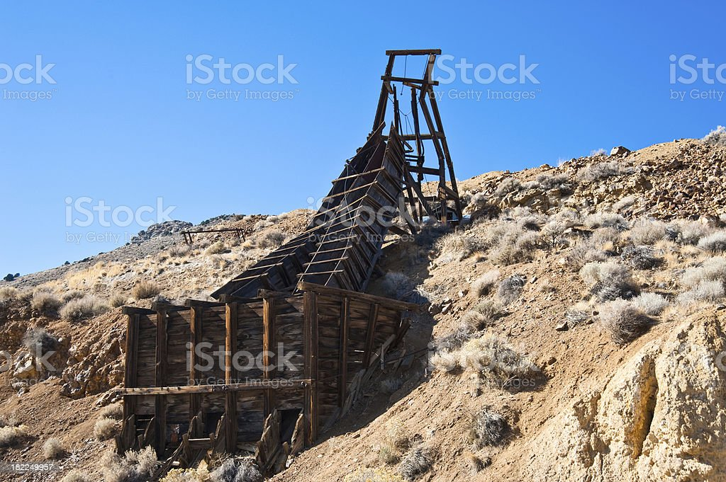 Old Comstock Ore Shute stock photo