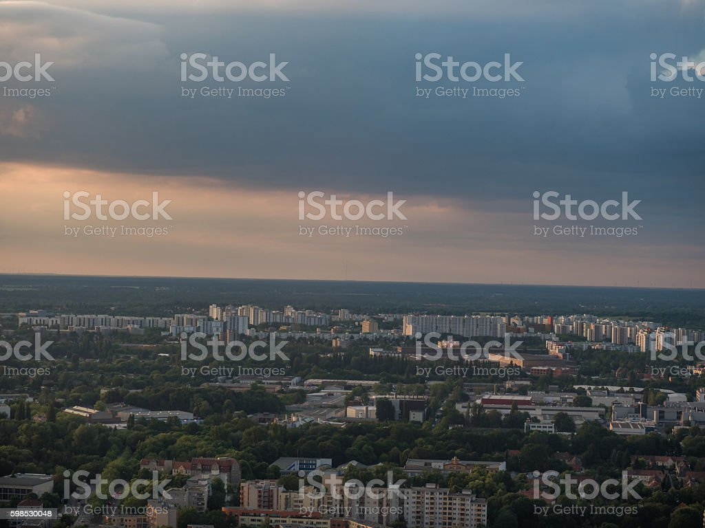 Old concrete apartment buildings seen from air stock photo
