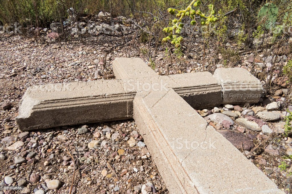Old Concrete Grave Marker stock photo