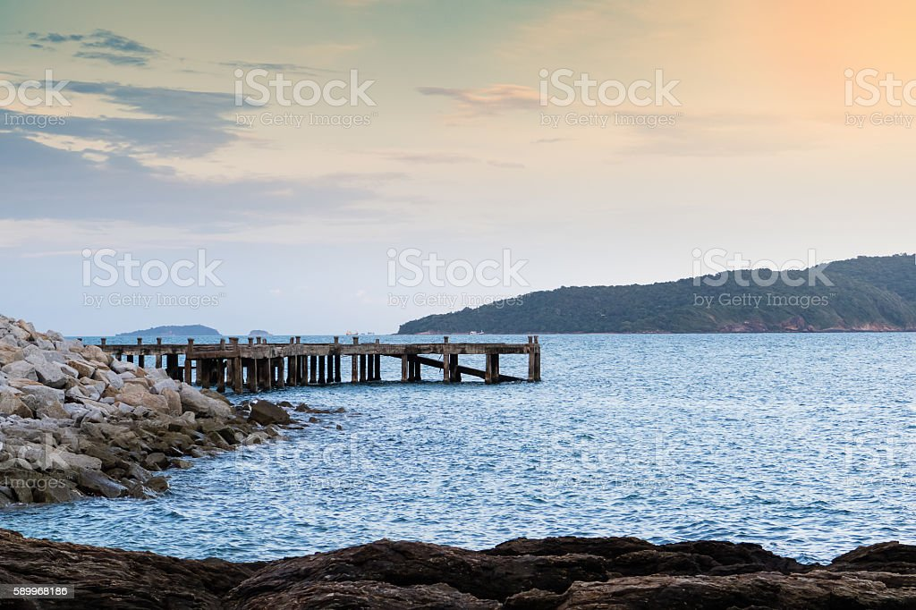 Old concrete jetty before sunset. stock photo