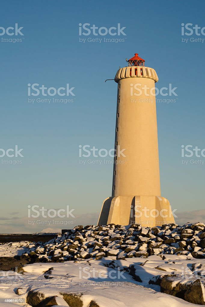 Old concrete lighthouse in Akranes, Iceland stock photo