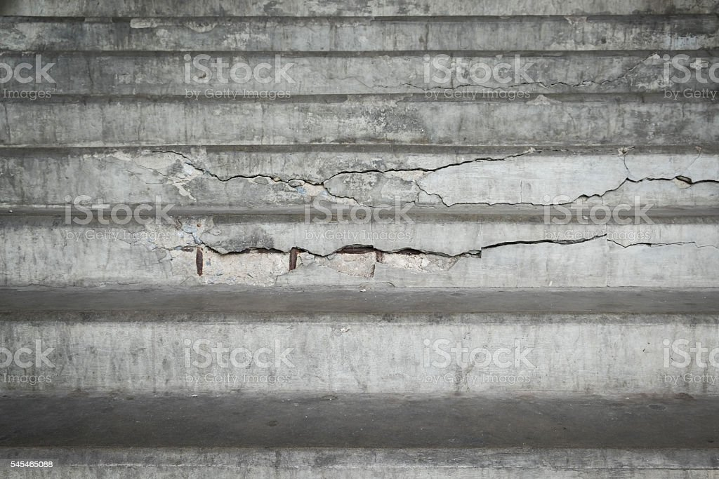 Old concrete stairs with cracks. stock photo