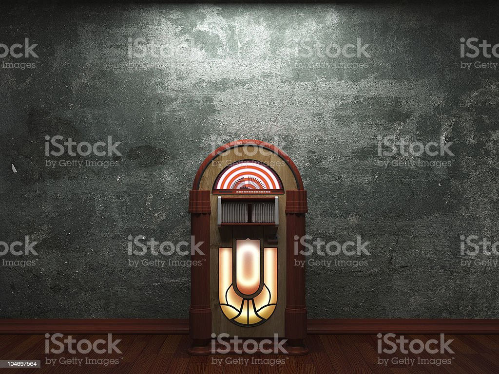 old concrete wall and jukebox stock photo