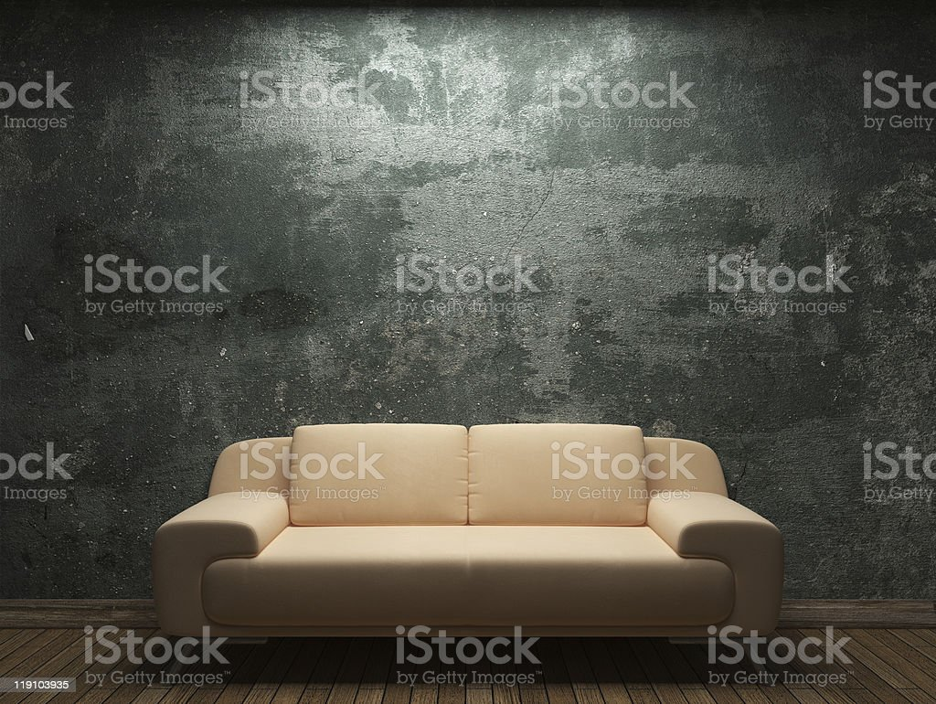 old concrete wall and sofa stock photo