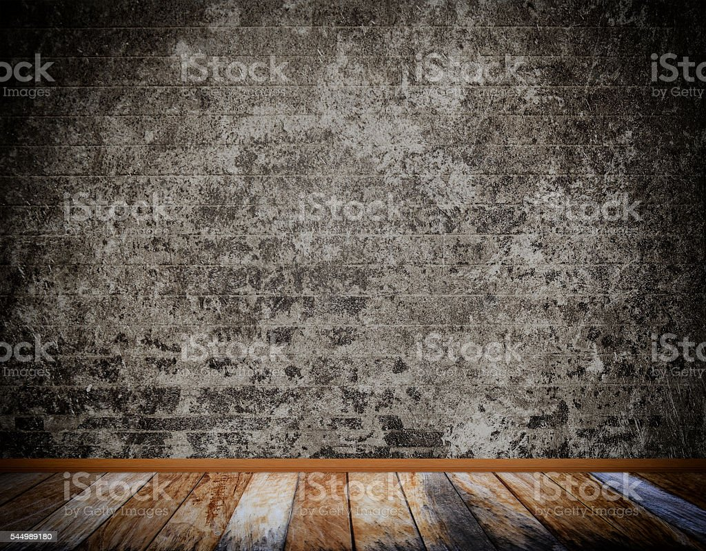 Old concrete wall and wood floor. stock photo
