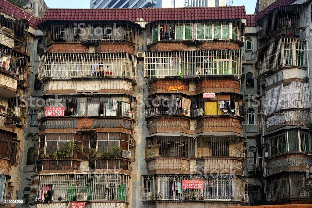 Old condominiums in Zhuhai, Guangdong, China stock photo