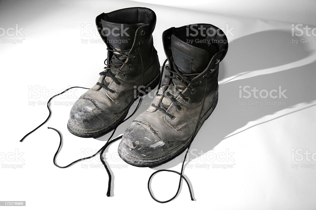 Old Construction Boots stock photo