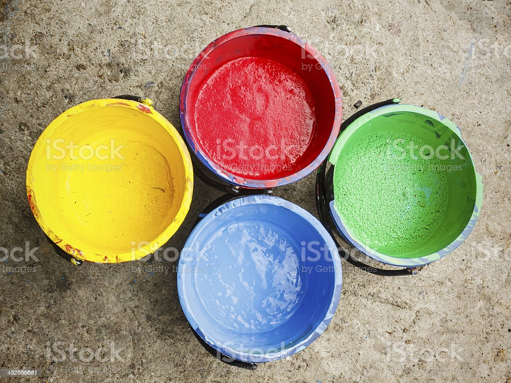 Old containing color silkscreen. stock photo
