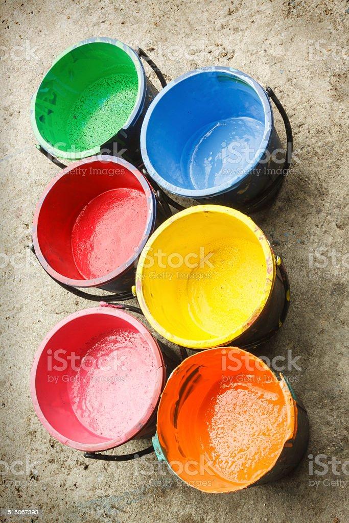 Old containing color silkscreen. stock photo