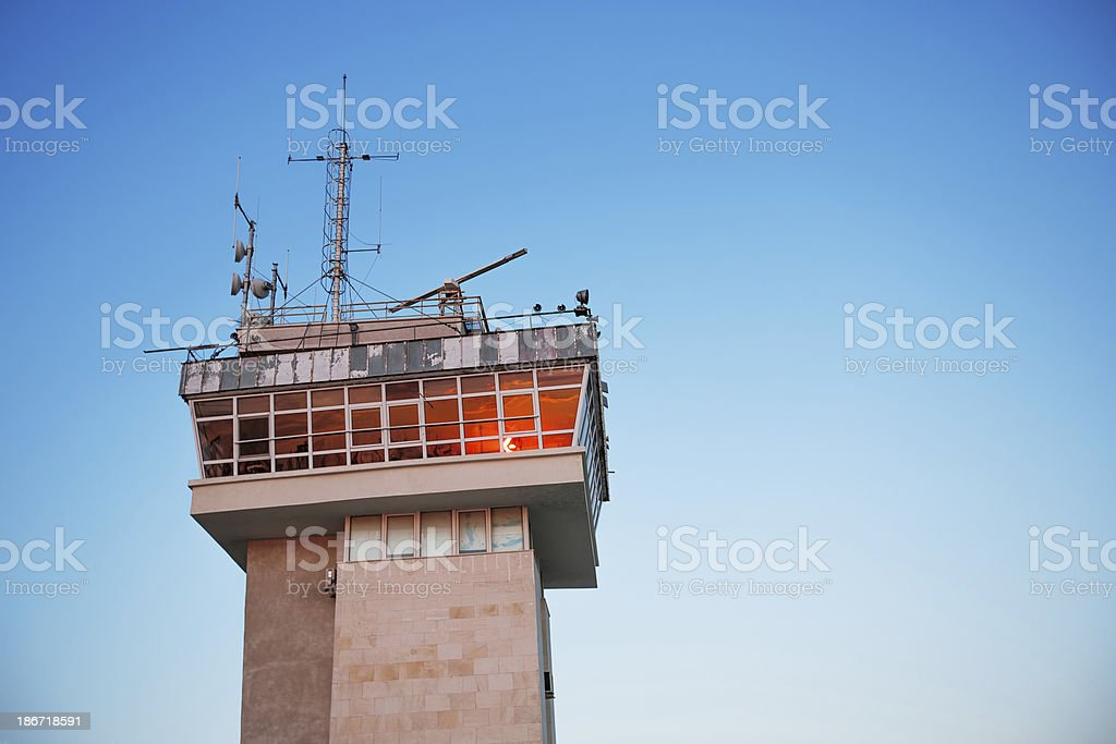 Old control tower stock photo