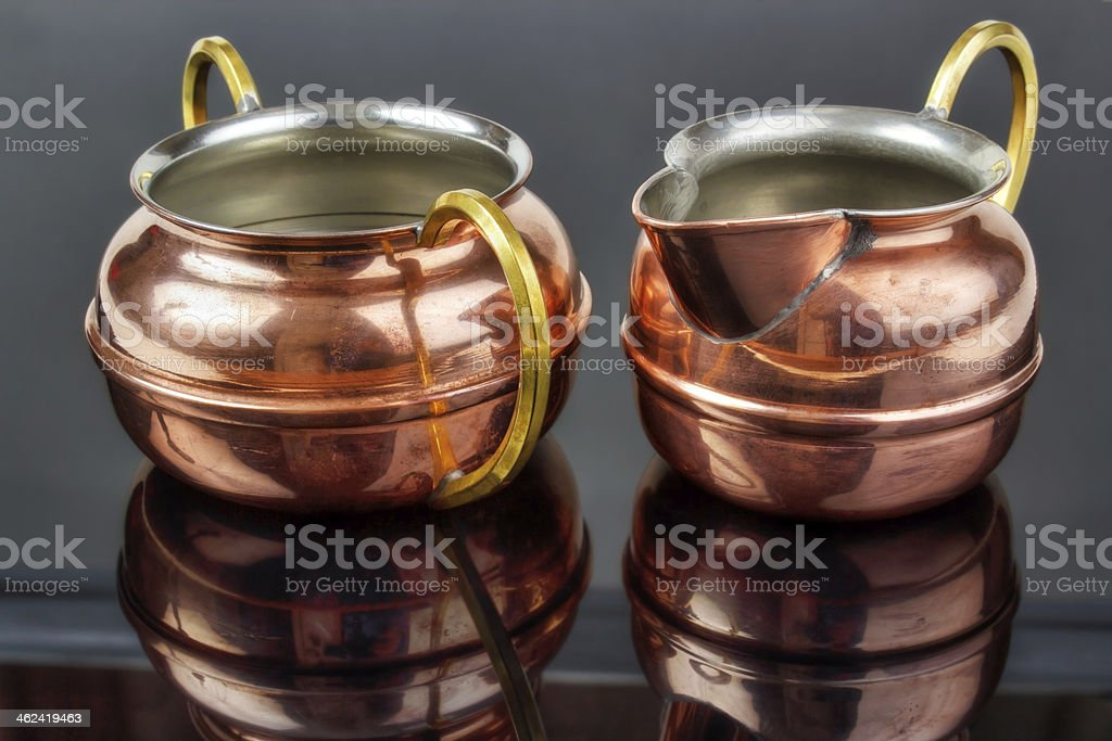 Old copper cups royalty-free stock photo