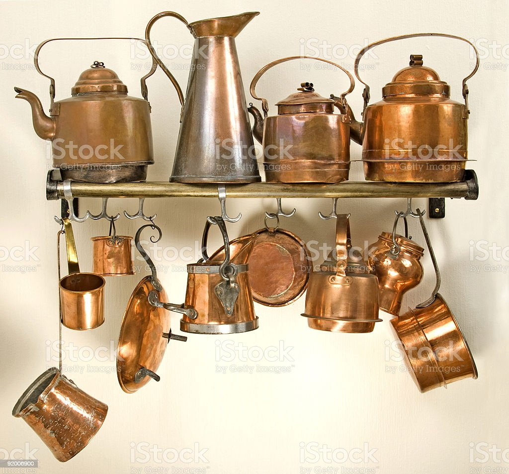 Old copper kitchenware stock photo