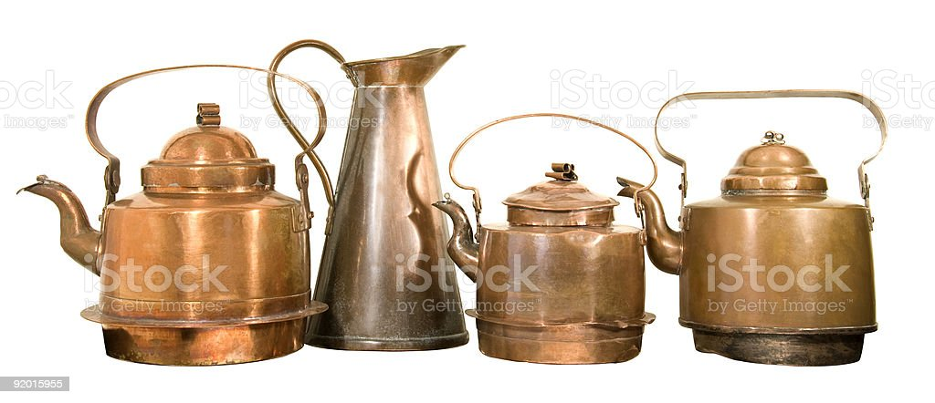 Old copper pots stock photo