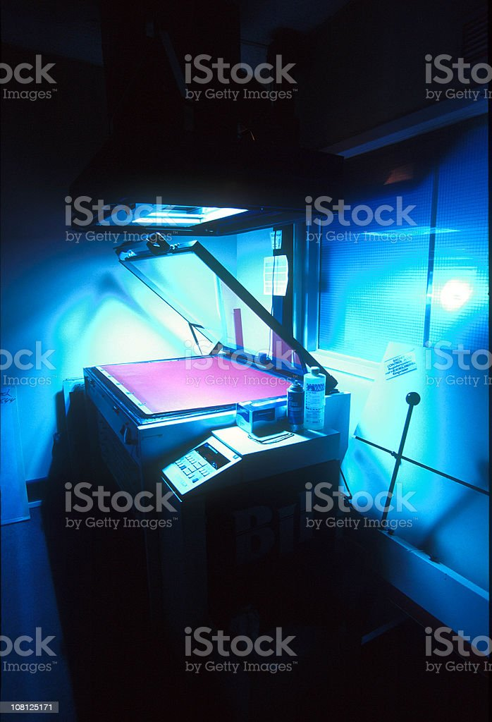Old Copy Machine in Print Shop, Low Key royalty-free stock photo