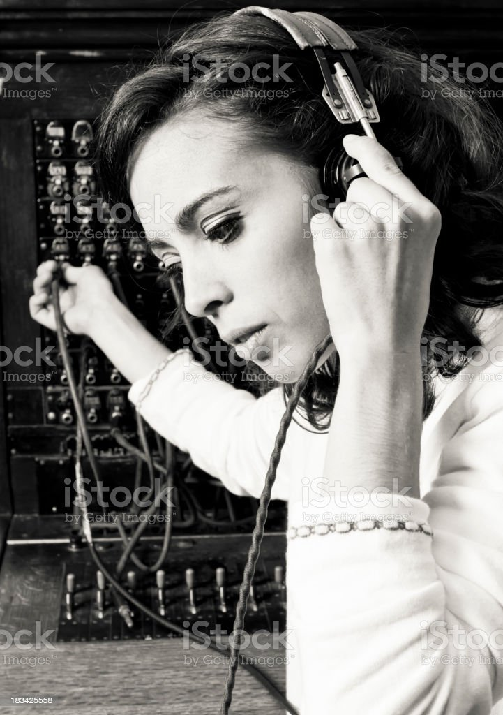 Old Cord Switchboard Operator Customer Service Respresentative stock photo