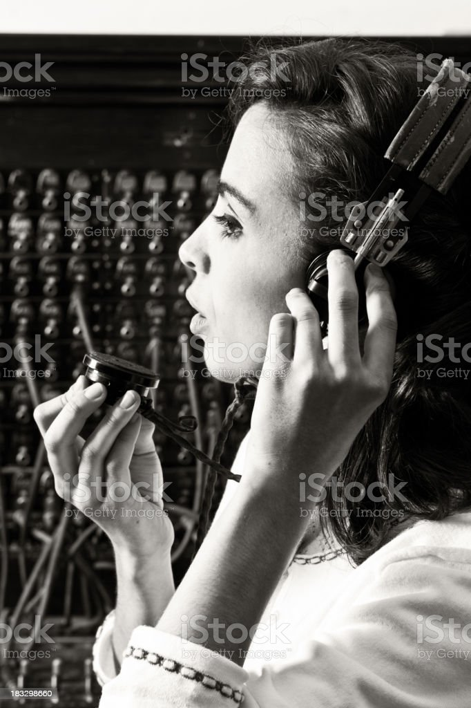 Old Cord Switchboard Operator royalty-free stock photo