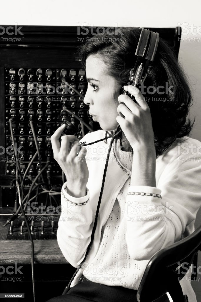 Old Cord Switchboard Operator stock photo